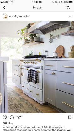 Obsessed with this whole look and feel. Love the cabinets and pulls in gold!