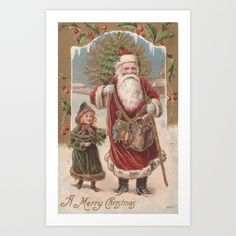 Vintage Santa and Child - $14