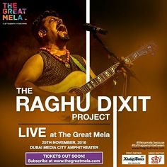 The best contemporary #folk and #fusion #musician in India, Raghu Dixit along with The Raghu Dixit Project, performing #live @thegreatmela this November. Tickets out soon, subscribe to thegreatmela.com. . . . . #theraghudixitproject #raghudixit #bangalore #music #instamusic #artists #concert #songs #musiclover #musiclovers #comingsoon #thegreatmela #party #instaDubai #BestoftheDay #PicoftheDay #DubaiLife #MyDubai #dubai #mydxb #dxb #funfriday #fridayfeeling #weekends #weekendvibes