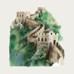 Japan Architecture, Chinese Architecture, Watercolor Illustration, Watercolor Art, Monuments, Chinese Mountains, Chinese Wall, Chinese Drawings, Great Pyramid Of Giza