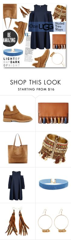 """""""The New Classics With UGG: Contest Entry"""" by elegal32 ❤ liked on Polyvore featuring UGG, Rebecca Minkoff, Sole Society, TIBI, Lucky Star Jewels, DayToNight, ugg and contestentry"""