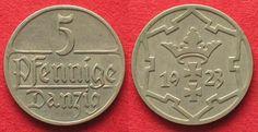 1923 Danzig DANZIG 5 Pfennig 1923 Cu-Ni XF-UNC! # 94074 EF-UNC