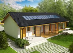 Projekt domu Eryk II G1 (30 stopni) 89,91 m² - koszt budowy - EXTRADOM Self Build Houses, Wooden Cabins, Exterior Design, Home Fashion, Building A House, House Plans, Shed, New Homes, Outdoor Structures