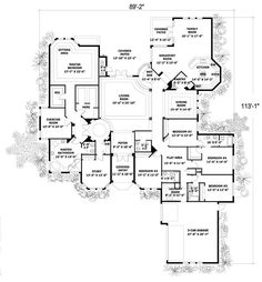 House Plan 55772 | Mediterranean Plan with 5131 Sq. Ft., 5 Bedrooms, 5 Bathrooms, 2 Car Garage at family home plans