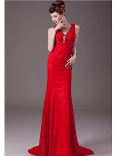 Glamorous Sheath V-Neck  Court Train Lace Red Evening Dress