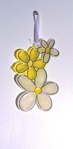 ORNAMENT  Daises  Acrylic  White & Yellow by CreativeXpression1, $4.50