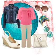 Coral and Teal, created by ppcpenny on Polyvore