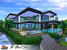 The Black Okid Found in TSR Category 'Sims 4 Residential Lots' Home Building Design, Building A House, Sims 4 Modern House, The Sims 4 Lots, Sims Free Play, Casas The Sims 4, The Sims 4 Download, Sims Community, Sims Resource