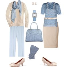 Dusty Blue and Cream by create1 on Polyvore featuring мода, Jonathan…