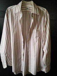 Men's Lacoste Long Sleeve Button   Shirt  Sz 43 WHITE burgundy stripe #Lacoste #ButtonFront