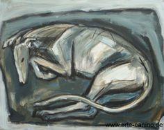 Schlafender Galgo, Acrylic on canvas, 80 x 100 cm
