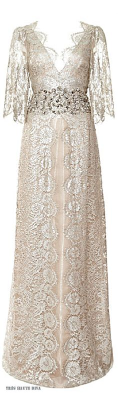 Marchesa Metallic Floral Lace Gown ♔ Resort 2015