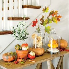 Set Up a Fall Pumpkin Tableau as a unique fall decoration.