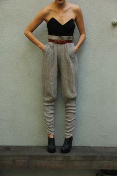 Gray High Waisted Harem Pants 1980's