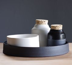 black and white kitchen tray set.