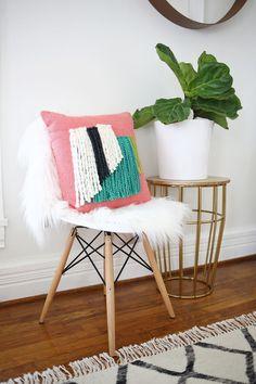 Yarn fringe pillow D