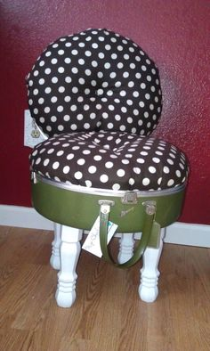 Suitcase chair, @Randolyn Bice Beilmann, this makes me think of you. I think I still have Mama's white round suit case like this