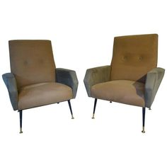 Beautiful Pair of Italian Armchairs circa 1960 in the Style of Marco Zanuso | From a unique collection of antique and modern armchairs at https://www.1stdibs.com/furniture/seating/armchairs/