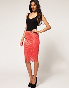 asos coral lace pencil skirt to add to my collection