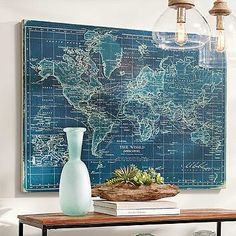 "Azure World Map - Azure World Map Artwork (67960): 50""W x 36""H, 16 lbs."