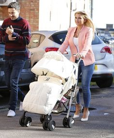 Stylish mum: New mother Billie Faiers was seen working a stylish look as she pushed her daughter through Essex in a white stroller
