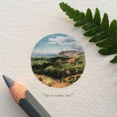 Day 364 : Constantia Nek is a low pass over the Table Mountain range in Cape Town, South Africa, and is home to the oldest restaurant in Cape Town. 28 x 28 mm. (reference picture by @dashclarke - thank you!) #365postcardsforants #miniature #watercolour #painting #wdc624 #constantianek #constantia #capetown