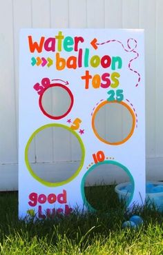 Water balloon toss-fun summer game - A girl and a glue gun, This post may contain affiliate links. This is a fun game I whipped up for a little party! Kid's love water balloons…but if you don't give them some. Backyard Games Kids, Water Games For Kids, Summer Activities For Kids, Summer Kids, Family Activities, Kids Water Party, Balloon Games For Kids, Water Balloon Games, Backyard Camping