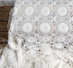Vintage Crochet Bedspread / Coverlet, Throw, Bohemian, Modern Victorian, Bedding. via Etsy.