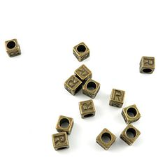 Price per 600 Pieces Fashion Jewelry Making Charms Findings Arts Crafts Beading Antique Bronze Tone A8SF6 Alphabet R Cube Loose Beads