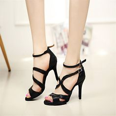 Customizable+Women's+Dance+Shoes+Latin/Salsa/Samba/Performance+Leatherette+Stiletto+Heel+Black+–+EUR+€+34.29