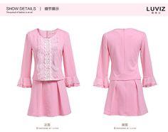 vestido del cordón de la manga del resorte Luviz nuevas mujeres de Corea del cuerno de la manga del loto de la falda era delgada pieza -tmall.com Lynx