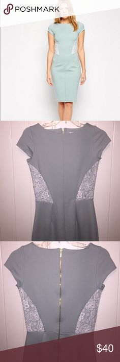 """ASOS Closet Lace Inset Body Conscious Dress 👗 So beautiful! I wore this dress once for a college graduation event. Hits in all the right places and the lace detail is very figure flattering and slimming! The color is more of a muted mint color than it looks on the model. Simple, yet elegant. I'm 5'5"""" and this hit right past/at my knee. I wore it with pointed white stilettos and it looked amazing for spring! My favorite detail is the exposed back golden zipper...to die for! 😍 FYI size…"""