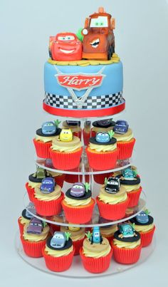 Disney Cars Cupcake Tower By SuzieB CakesDecorcom Cake Toddler Birthday Cakes, 2 Year Old Birthday Party, Birthday Cupcakes, 4th Birthday, Birthday Ideas, Disney Cars Cupcakes, Disney Cars Party, Car Cupcakes, Pixar Cars Birthday