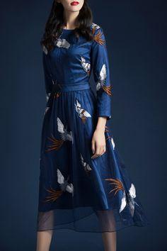 Eavnos Deep Blue Mesh Embroidered A Line Midi Dress | Midi Dresses at DEZZAL