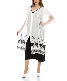 Look what I found on #zulily! Ecru Floral V-Neck Button-Up Dress - Plus #zulilyfinds