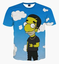 8a68b1f8 Simpsons Cartoon 3D T-shirt Digital Printing Pattern Short-sleeved Round  Neck Digital Printing