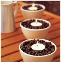 The heat from the candle lets off the aroma of the coffee!