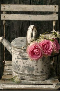 Pink Flowers : shabby chic - watering can - pink ranunculus?tn - Leading Flowers Magazine, Daily Beautiful flowers for all occasions Rosa Shabby Chic, Estilo Shabby Chic, Shabby Vintage, Vintage Pink, Dream Garden, Garden Art, Garden Design, Garden Roses, Colorful Roses