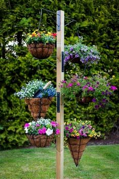 Do you want to grow herbs all year long? You can do it in your garden using hanging garden. Hanging garden is essential in a home, from supply when need herbs for cooking to beautifies your home. All of that can be achieved with hanging garden. Hanging Basket Garden, Hanging Flower Baskets, Diy Hanging, Hanging Gardens, Hanging Basket Stand, Strawberry Hanging Basket, Hanging Plants On Fence, Hanging Planters Outdoor, Cedar Planters