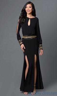 Long Sleeve Floor Length Holiday Dresses