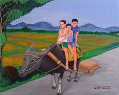"""Acrylic on canvas, """"Farm Boys,"""" by Cyril Maza, Fine Art America."""