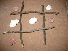 Tic-tac-toe, Hangman and more -- all with sticks (and a rock or two!)