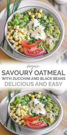 Switch up your usual breakfast with vegan savoury oatmeal! Made with black beans and zucchini, these are packed full of flavour and ready in ten minutes. Bean Recipes, Vegan Recipes Easy, Raw Food Recipes, Vegetarian Recipes, Savoury Recipes, Savory Oatmeal, Oatmeal Porridge, Ella Vegan, Raw Vegan