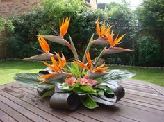 flower arrangement is one I would have in my home ---- love the colors and combo of plant choices very nicely stylized floral arrangement: Tropical Flowers Arrangements, Carissa Centros Florales, Arreglos Florales Tropicales, Arrangements Small, Floral Ar Arrangements Ikebana, Church Flower Arrangements, Beautiful Flower Arrangements, Unique Flowers, Exotic Flowers, Beautiful Flowers, Small Flowers, Tropical Centerpieces, Tropical Floral Arrangements