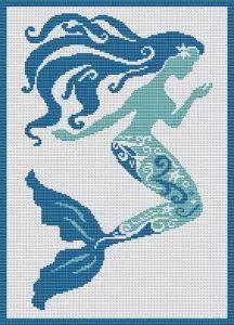 Mermaid cross stitch pattern