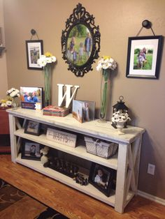 modified Ana Whites Rustic X Console table, and used Minwax ...
