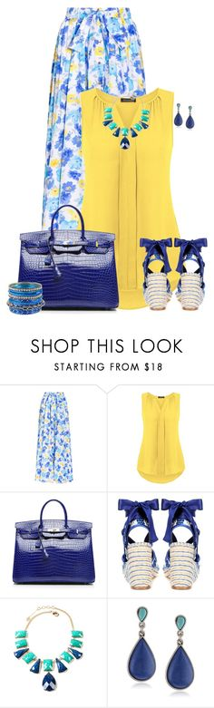 """""""Yellow n' Blue Summer Style"""" by kginger ❤ liked on Polyvore featuring Alexander Terekhov, Hermès, Balenciaga, Amrita Singh, Lucky Brand and Haskell"""