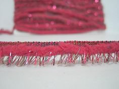 Gorgeous pink stars beaded lace trim for designing arts crafts DIY 1 metre 1cm