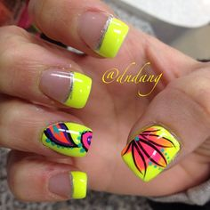 Neon Yellow + Coral Flower Nails With Teal Accents