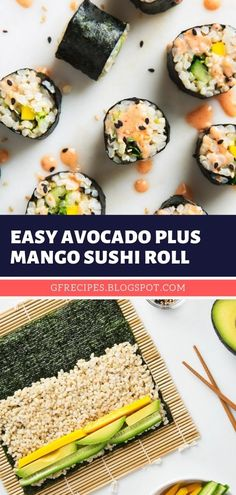 Easy Avocado Plus Mango Sushi Roll, Avocado rolls sushi, Vegan sushi rolls, Rice recipes, How to make cauliflower, Veggie recipes, Vegetable dishes, Diy sushi rolls, Homemade sushi, Making sushi at home, Spicy tuna roll recipe, Sushi rice, Sushi recipes homemade. #vegan #sushi #recipe #brownrice #mango #avocado #lunch #dinner #cucumber